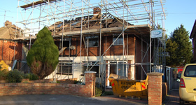 Fire damaged home undergoing insurance work in Gillingham, Kent